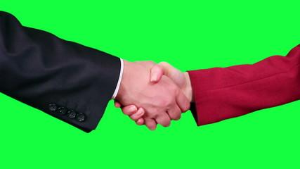 Handshake closeup chroma key