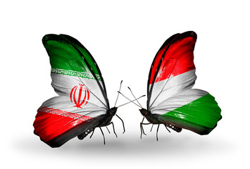 Two butterflies with flags Iran and Hungary