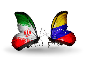 Two butterflies with flags Iran and Venezuela