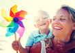 Mother Son Playful Relaxation Family Bonding Concept