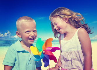 Brother Sister Beach Bonding Holiday Travel Together Concept
