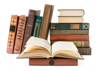 Old book on bookshelf