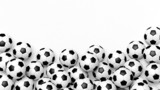Fototapety Pile of classic soccer balls isolated on white with copy-space