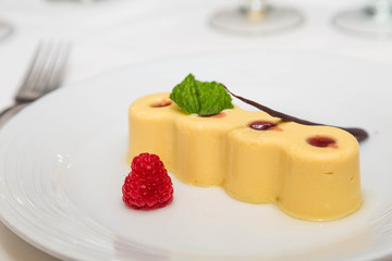 Raspberry on Plate with Lemon Tart