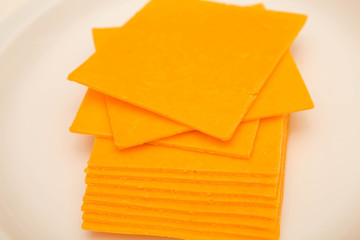 Sliced Cheddar Cheese on White Plate
