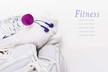 Fitness background, isolated on white with copy space