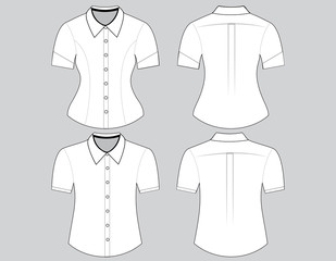Blank shirt with short sleeves template for man and woman