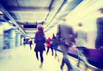 People Walking Travel Motion City Rushing Concept