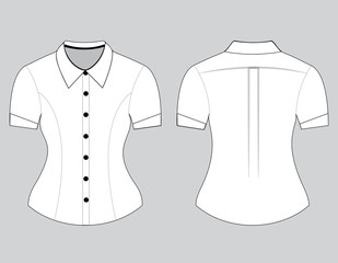 Blank shirt with short sleeves template for women