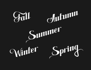 vector typographic illustration of handwritten seasons of the