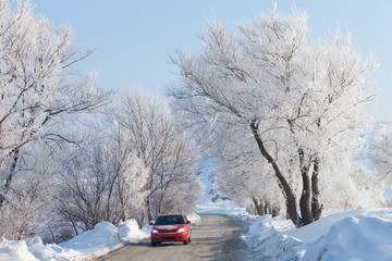 Car moving on beautiful winter road
