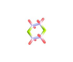 Dioxane molecule isolated on white