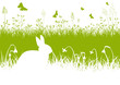Ostern, Grußkarte, Osterhase, Wiese, Gras, Frühling, Silhouette