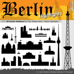Berlin, Silhouette, Shapes, Highlights, Sehenswürdigkeiten, 2D
