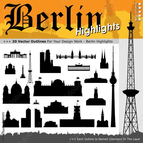 Fototapeta Berlin, Silhouette, Shapes, Highlights, Sehenswürdigkeiten, 2D