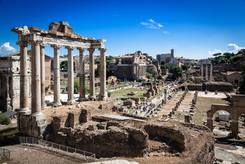 ancient ruins of roman forum in Rome, Lazio, Italy