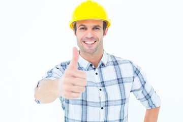 Architect showing thumbs up over white background