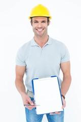 Confident architect holding clip board