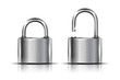 Two icons -- padlock in the open and closed position, isolated - 76897055