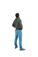 man standing on white  seen from behind