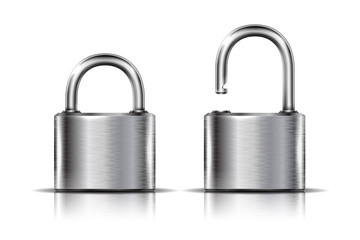 Two icons -- padlock in the open and closed position, isolated