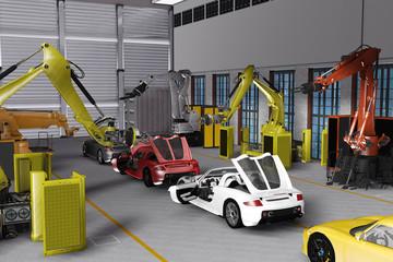 Sportwagenproduktion in futuristischer Kulisse