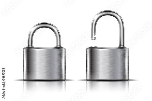 Dwie ikony - kłódka w pozycji otwartej i zamkniętej, odizolowane