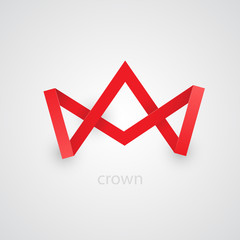 Abstract red paper crown on white background.