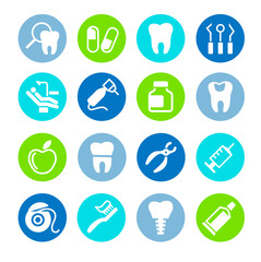 Set of web icons - teeth, dentistry, medicine, health