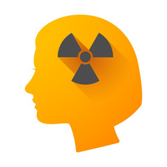 Woman head icon with a radioactivity sign