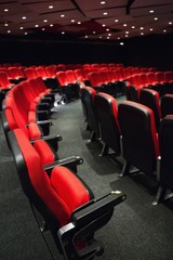 Empty rows of red seats