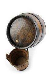 Old wooden barrel, bucket