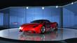 Futuristischer Sportwagen im Showroom