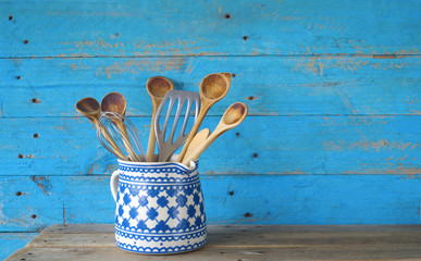 kitchen utensils, wooden spoons, cooking concept,free copy space
