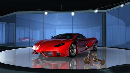 Futuristischer Sportwagen im Showroom mit rostigem Dreirad