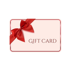 Gift card template with red ribbon and a bow