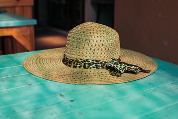 Straw hat on a table