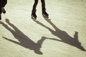 shadow background of group of people on the ice
