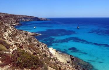 boat moored on the island of Lampedusa