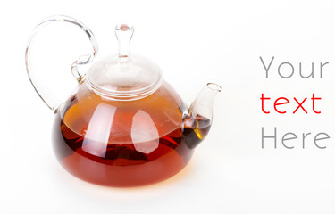 Glass Kettle of Tea Isolated on White Background