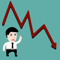 Businessman down trends Stock Growth