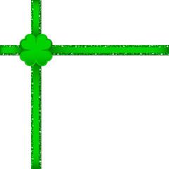 Clover Double Cross Ribbon Corner Green
