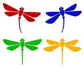 Vector illustration. Silhouette of dragonfly