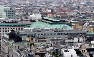 Aerial view of the city of vienna with theater