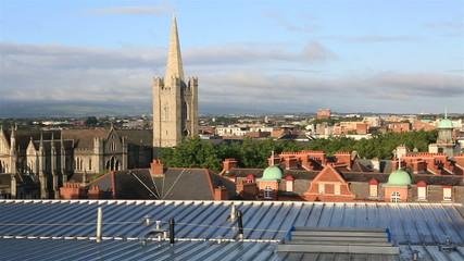 Morning view of Dublin city center.