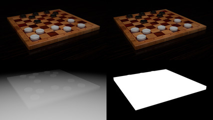 Checkers Game Board with Z-depth and Alpha Channel