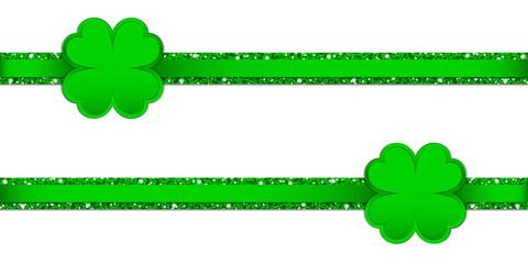 2 Clover Double Glitter Ribbon Horizontal Green