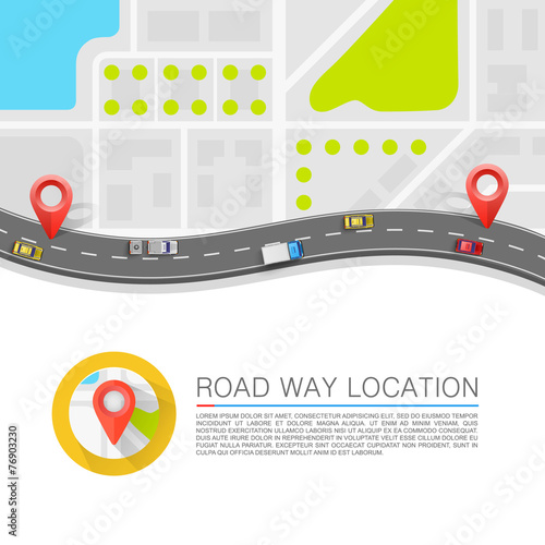 Paved path on the road. Vector background - 76903230