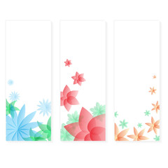 three types of floral vertical banner cards eps10