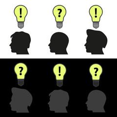 men heads with light bulb idea symbols eps10